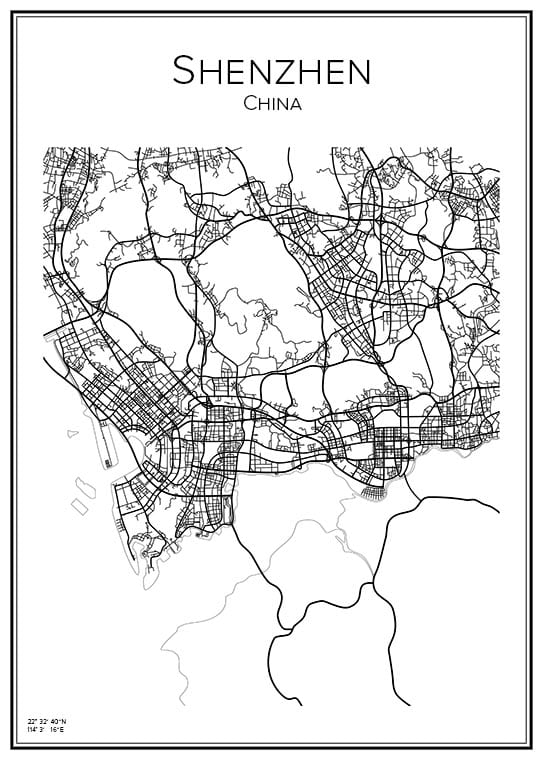 Stadskarta över Shenzhen