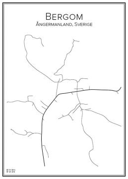 Stadskarta över Bergom