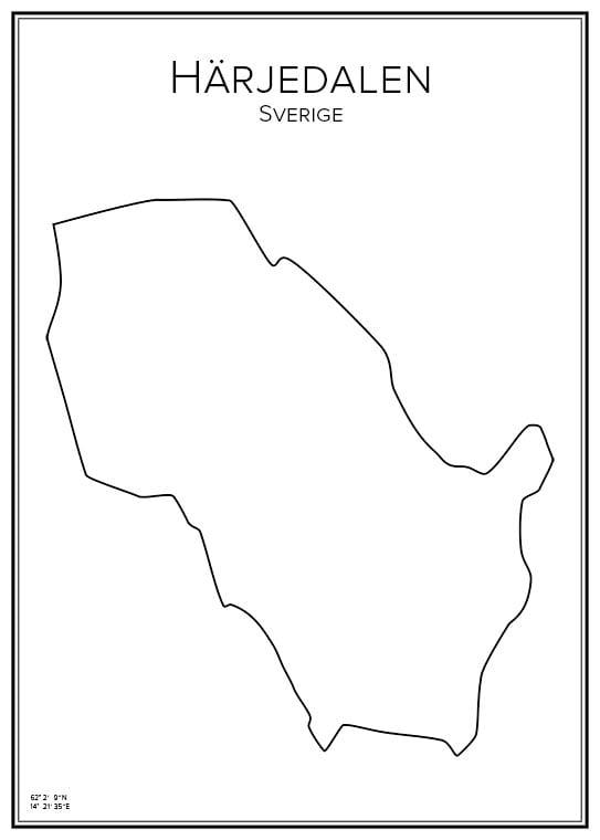 Stadskarta över Härjedalen