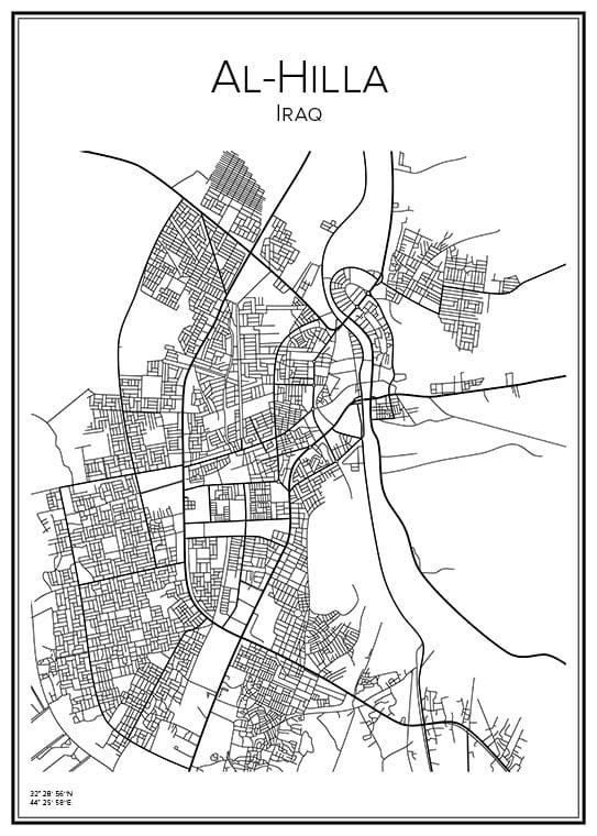 Stadskarta över Al-Hilla