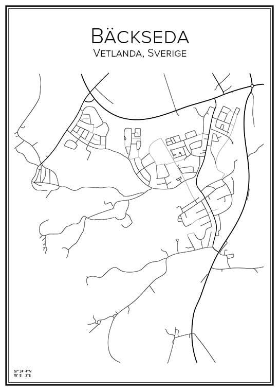Stadskarta över Bäckseda