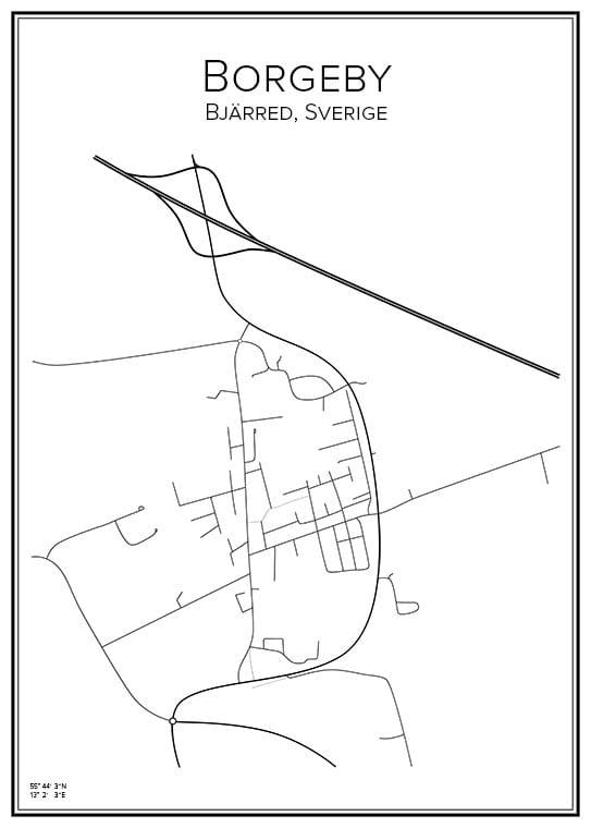 Stadskarta över Borgeby