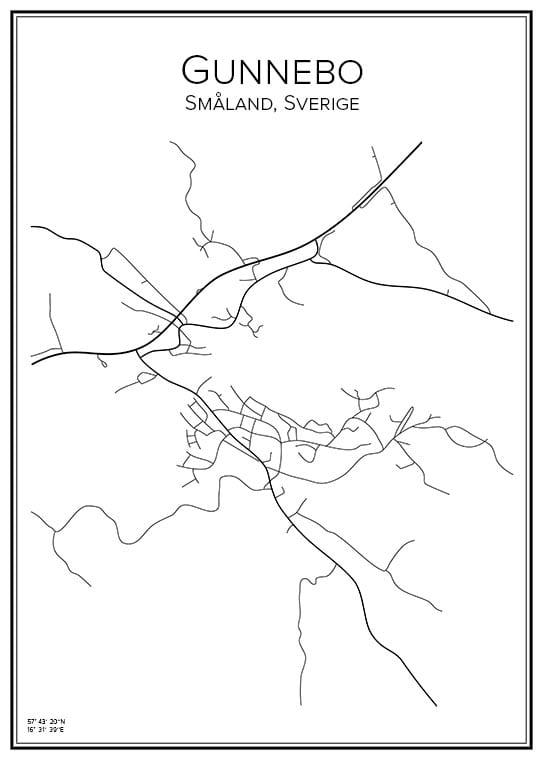 Stadskarta över Gunnebo