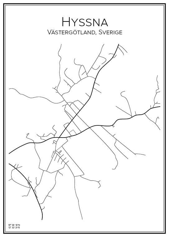 Stadskarta över Hyssna