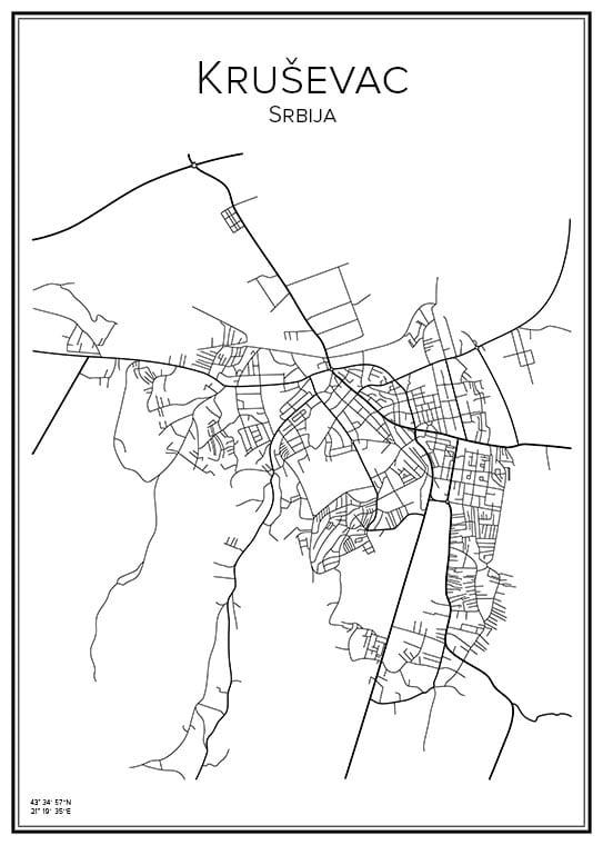 Stadskarta över Krusevac