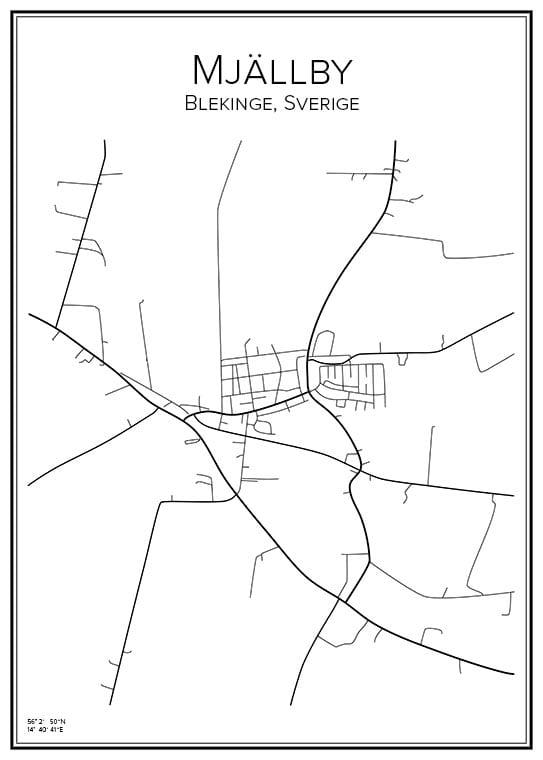 Stadskarta över Mjällby
