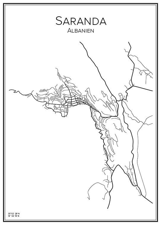 Stadskarta över Saranda