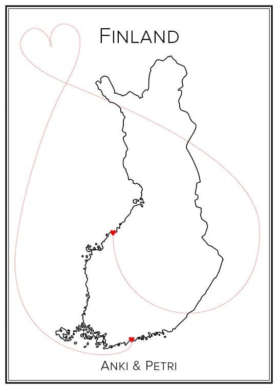 Kärlekskarta över Finland