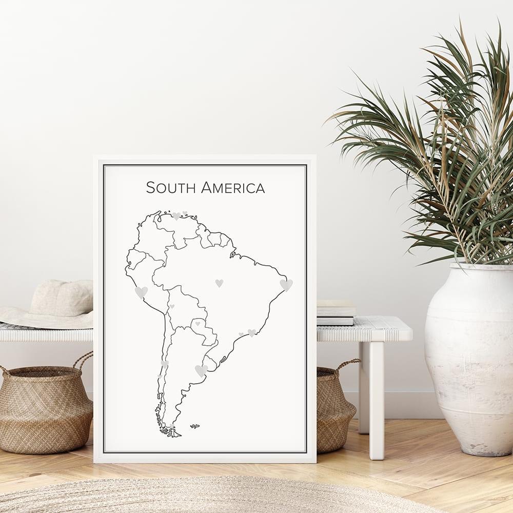 Markeringskarta över Sydamerika