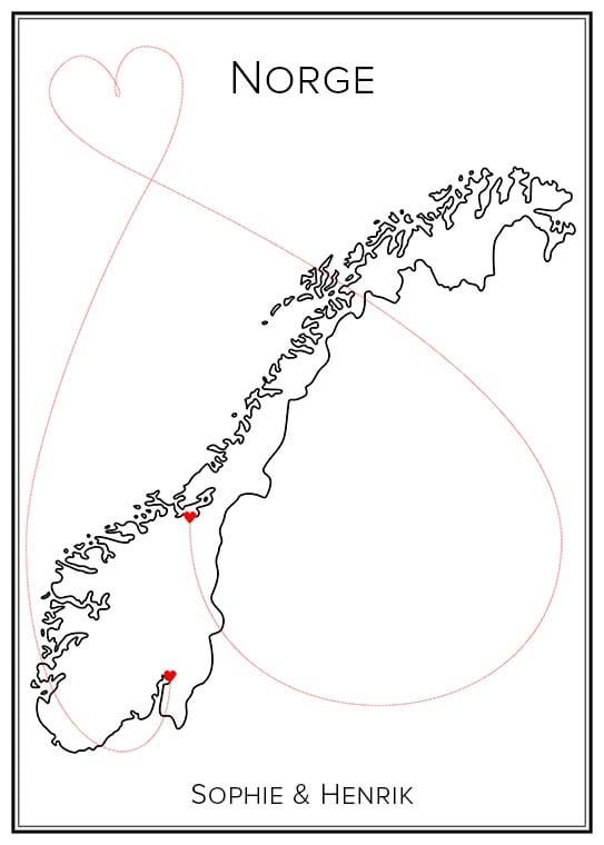 Kärlekskarta över Norge