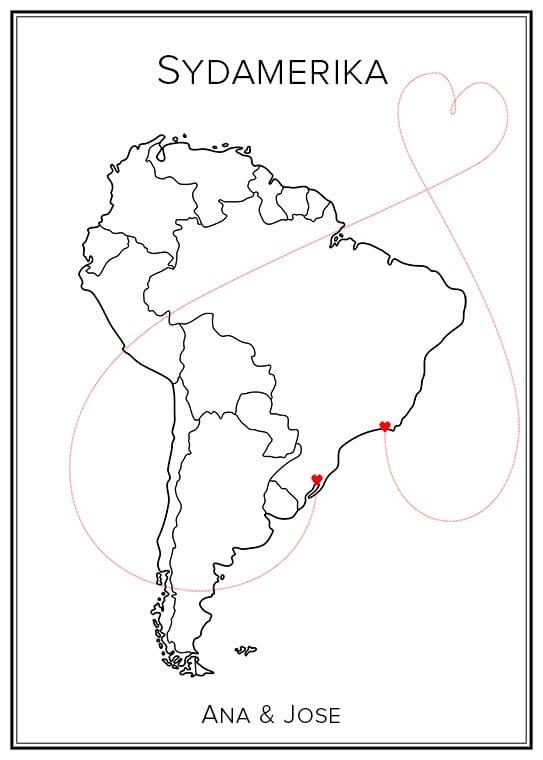 Sydamerika Kärlekskarta