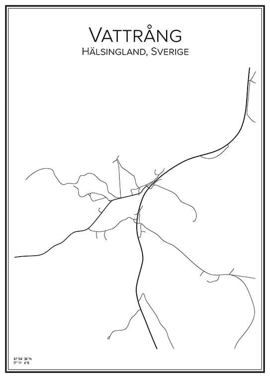 Stadskarta över Vattrång