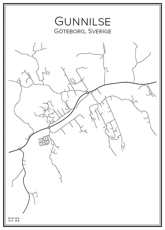 Stadskartor över Gunnilse