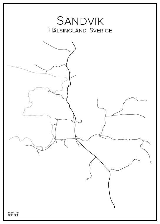 Stadskarta över Sandvik