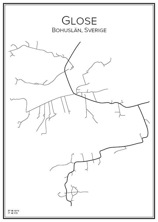 Stadskarta över Glose