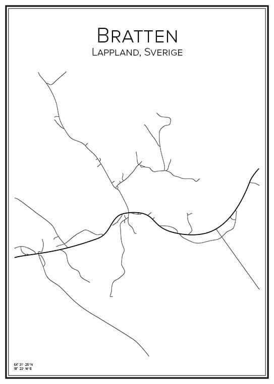 Stadskarta över Bratten