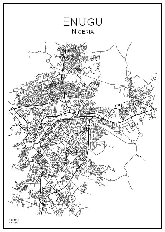 Stadskarta över Enugu