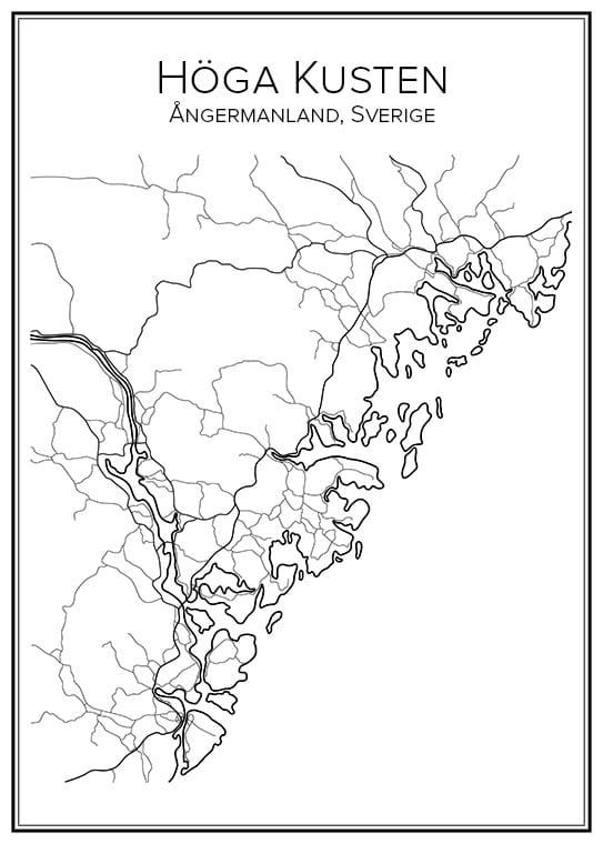 Stadskarta över Höga Kusten