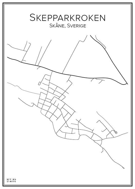 Stadskarta över Skepparkroken