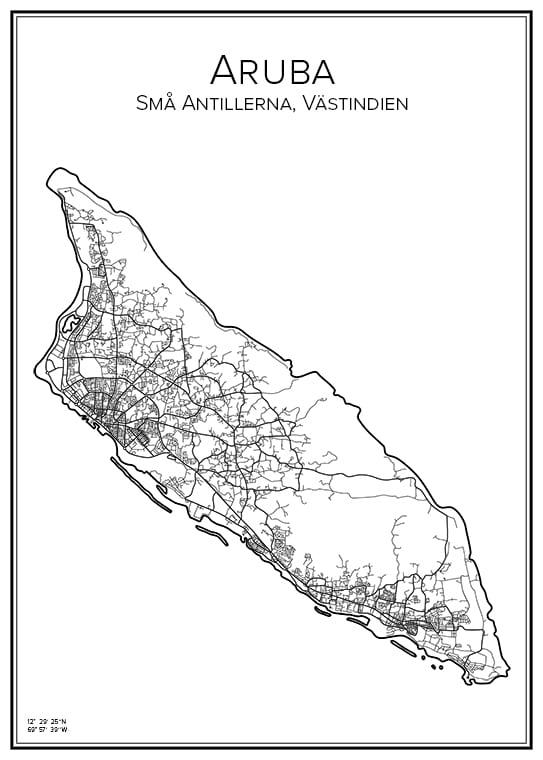 Stadskarta över Aruba