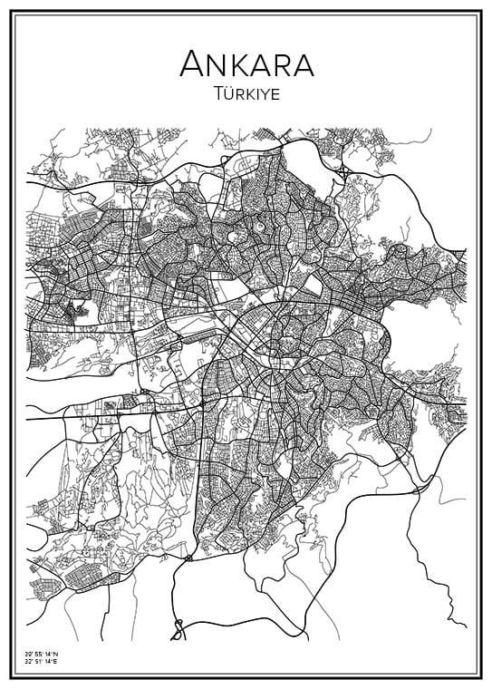 Stadskarta över Ankara